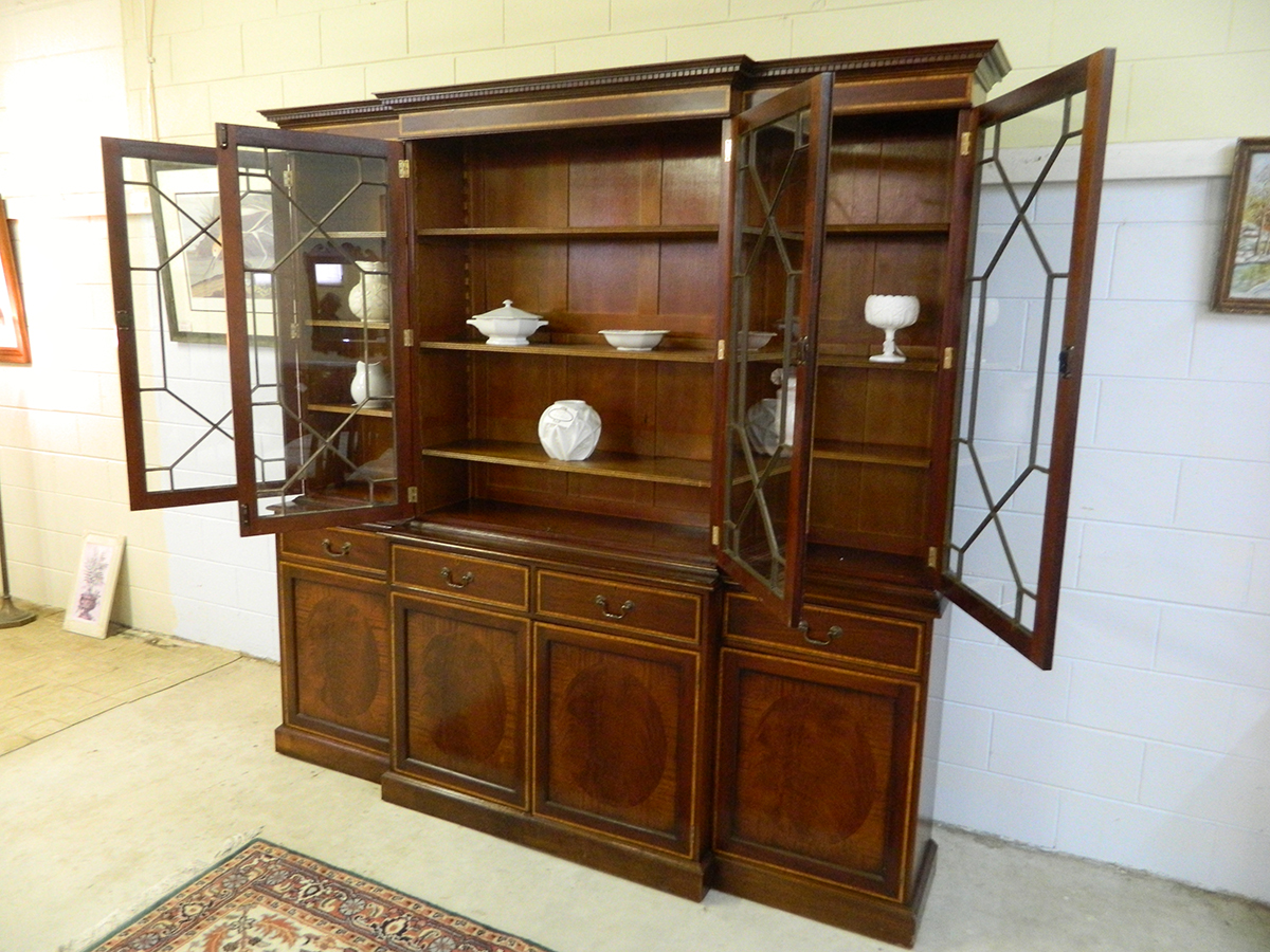 Antique Early Breakfront China Cabinet with Inlay - Antique Early Breakfront China Cabinet With Inlay – Jenkins Antiques